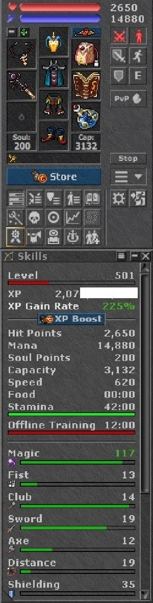 Tibia Character Open-PvP ~501 MS with Feru Hat !