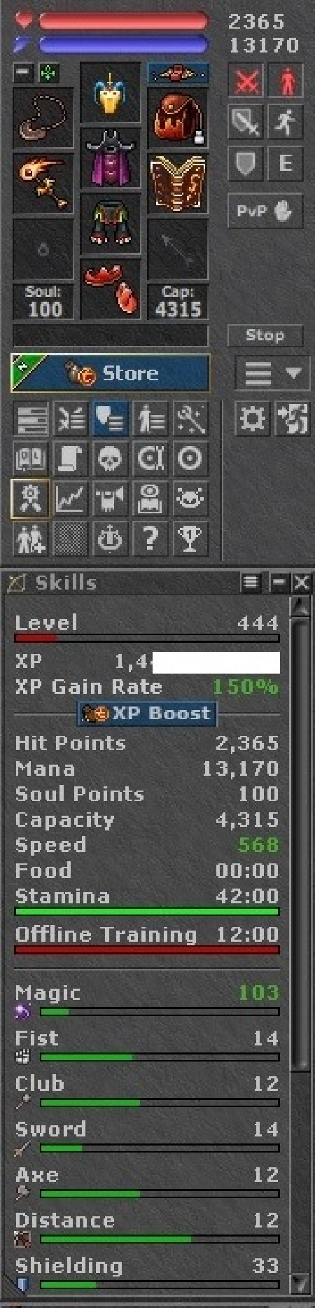 Tibia Character Optional-PvP ~444 MS + 219 RP
