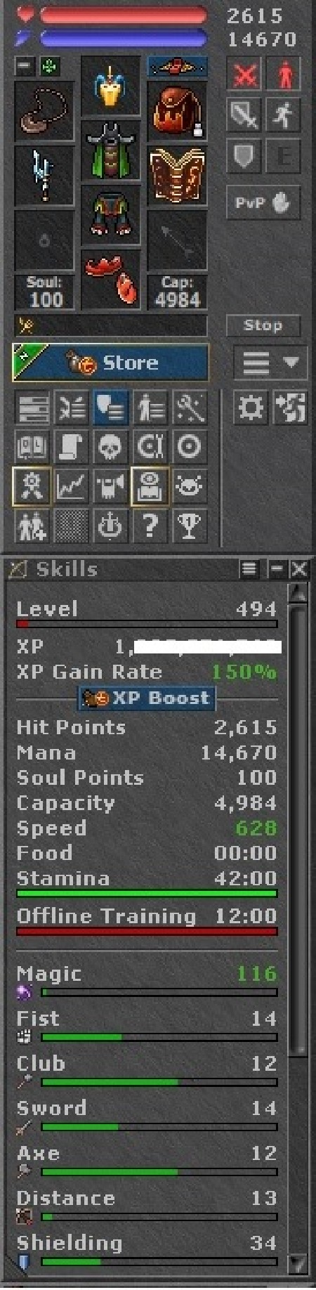 Tibia Character Open/Retro-PvP ~494 ED + 253 MS + 162 RP(New Server)
