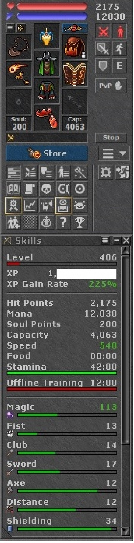 Tibia Character Open-PvP ~406 MS + 159 ED