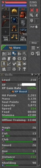 Tibia Character Open/Retro-PvP ~210 RP + 140 MS